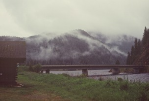 Misty bridge over the Lochsa River, Idaho; my cabin at the Three Rivers Motel